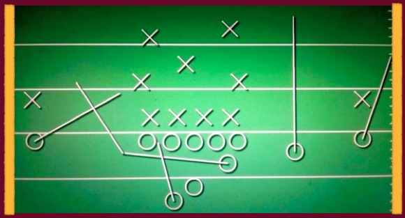 Pick-Route Pass Play (ASU Offense are the O's and Opponents Defense are X's)