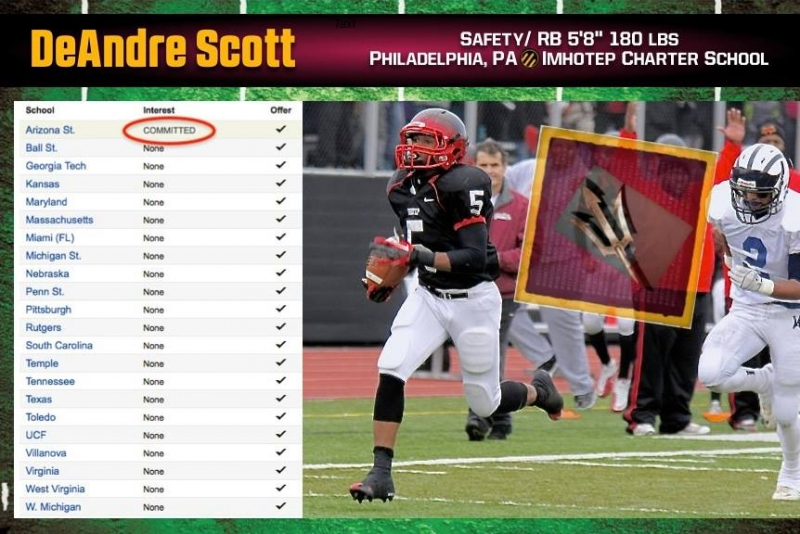 "DeAndre Scott - 5'8"" 180 lbs Safety/ RB from Philadelphia, Scott is a childhood friend of ASU WR, Jaelen Strong."