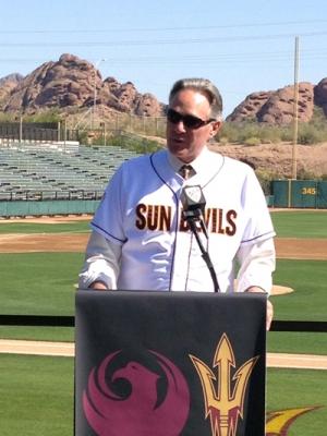 ASU's former AD announcing Sun Devil Baseball's future home at Phoenix Municipal Stadium.