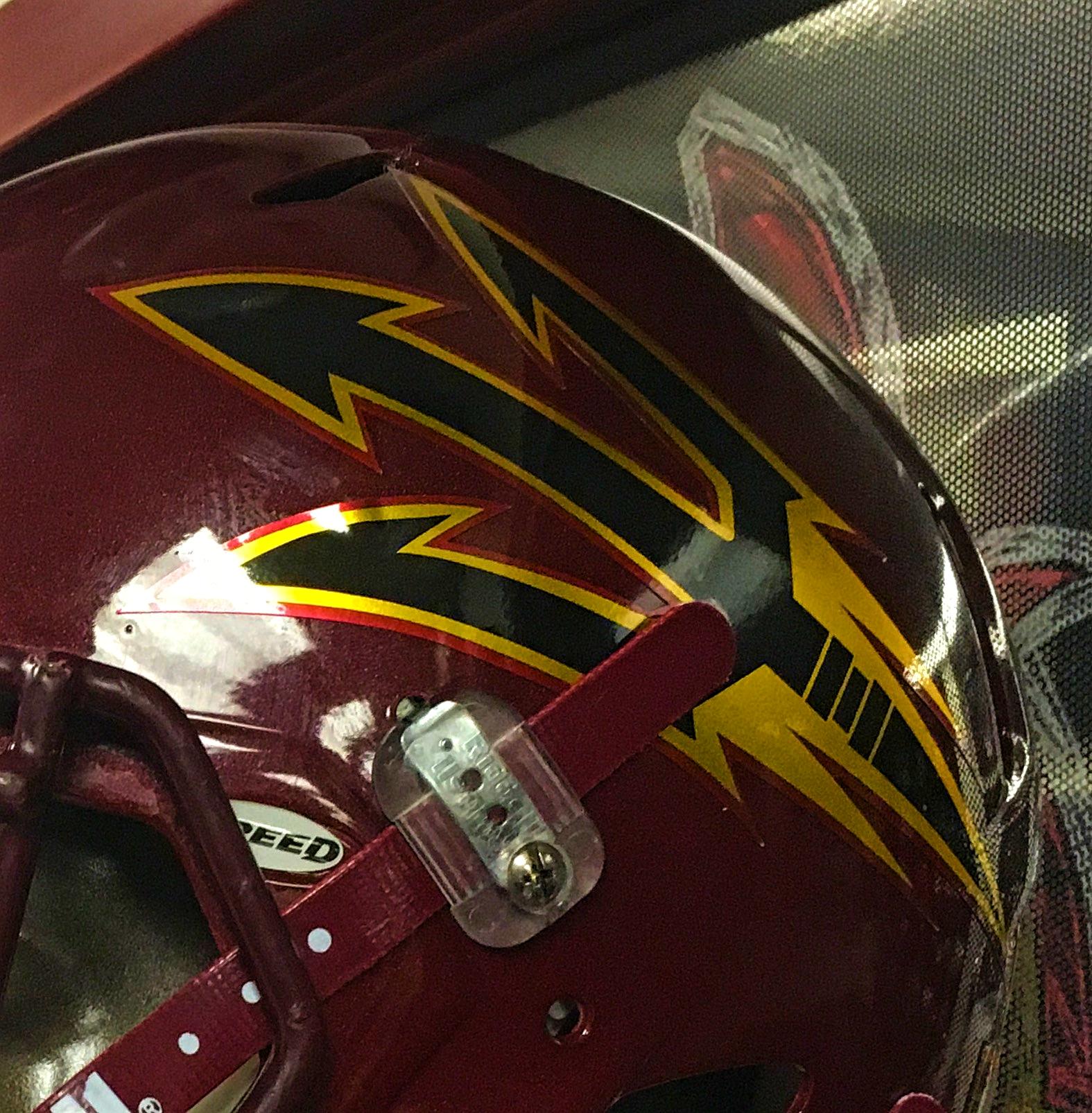 Close-up of this year's Maroon Monsoon helmet